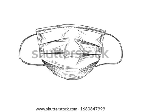 Surgical, Medical Face Mask that protects airborne diseases, viruses. Coronavirus. Defence from air pollution. Vector illustration in sketch style. Royalty-Free Stock Photo #1680847999