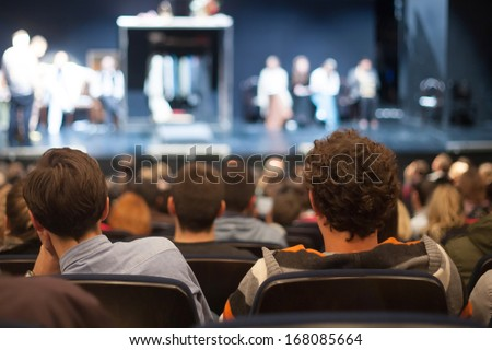 audience watching theater play Royalty-Free Stock Photo #168085664