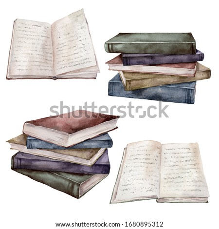 Watercolor vintage books set. Hand painted stack of books isolated on white background. Illustration for design, print, fabric or background.