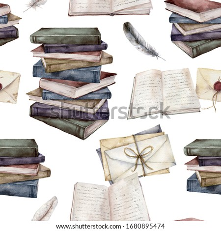 Watercolor seamless pattern with vintage books and envelopes. Hand painted stack of books and feather isolated on white background. Illustration for design, print, fabric or background.