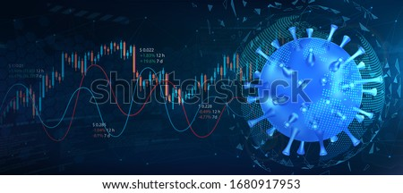 The collapse of the market and the stock exchange due to coronavirus. Covid-19 virus hits market. 3D model of bacteria with graphs and charts. Economic fallout. Coronavirus and market vector image #1680917953