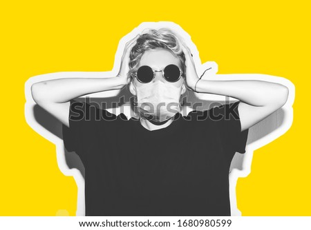 Short hair girl in corona virus protective medicine mask and sunglasses saving her from infection holding her head. Colorful collage in magazine style with emotional crazy woman in black t-shirt. #1680980599