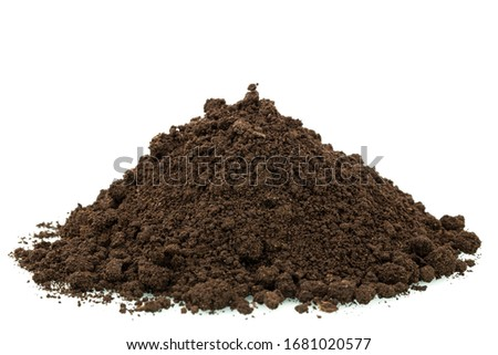Heap of soil isolated on white background Royalty-Free Stock Photo #1681020577