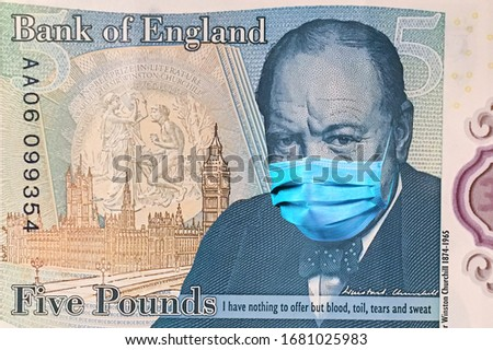 banknotes 5 British pounds with Winston Churchill in a medical mask. of the coronavirus epidemic in the UK .the impact of the coronavirus epidemic on the UK economy the .devaluation of the UK currency #1681025983