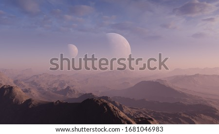 3d rendered Space Art: Alien Planet - A Fantasy Landscape with blue skies and clouds Royalty-Free Stock Photo #1681046983