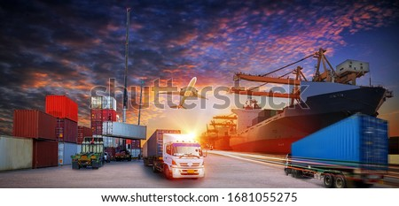Container truck in ship port for business Logistics and transportation of Container Cargo ship and Cargo plane with working crane bridge in shipyard, logistic import export  and transport concept Royalty-Free Stock Photo #1681055275