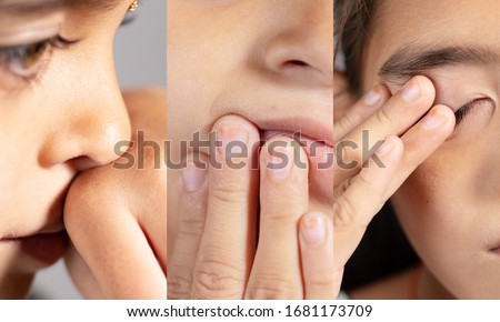 Collage of Young girl touches her nose, eyes and Mouth - Concept showing avoid touch face to protect and prevent form covid-19, sars cov 2 or coronavirus outbreak or spreading. #1681173709