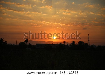 Sunset ocean horizon sky clouds sunset landscape #1681183816