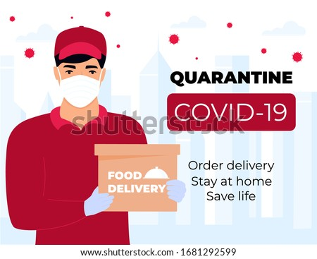COVID-19. Quarantine in the city. Coronavirus epidemic. A courier in a protective medical mask holds parcels in his hands. Free food delivery. Stay home. #1681292599
