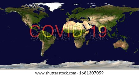 Coronavirus pandemic on world map. COVID-19 infection concept. Elements of this image furnished by NASA. #1681307059