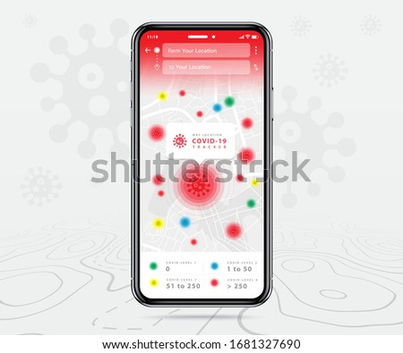 Covid-19, Mobile map tracker, Smartphone map application and track corona virus pinpoint on screen, App search map navigation, isolated on line maps background, Vector illustration for graphic design #1681327690