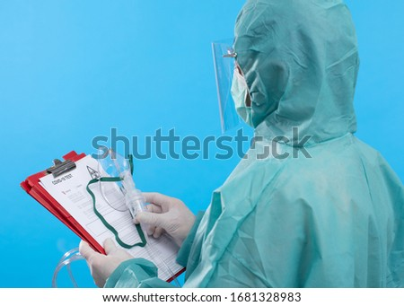 Medical Doctor with protective suit . Corona virus Covid-19 Concept. #1681328983