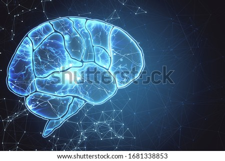 Creative tech brain wallpaper. Artificial intelligence and innovate concept. 3D Rendering