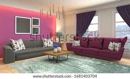 Interior of the living room. 3D illustration. #1681403704