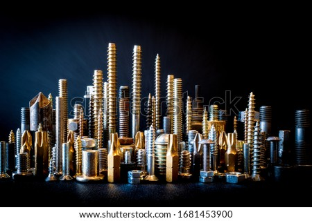 Screw, Nut and Bolt Miniature City Skyline, Screw City Royalty-Free Stock Photo #1681453900