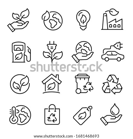 Ecology line art icon set, nature and environment. Protection, planet care, natural recycling power. Vector ecology line art illustration #1681468693