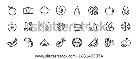 Fruit Icon Set, Vector lines, Contains icons such as apple, banana, cherry, lemon, watermelon, Avocado Editable stroke, 48x48 pixels, White background, eps 10. #1681493374