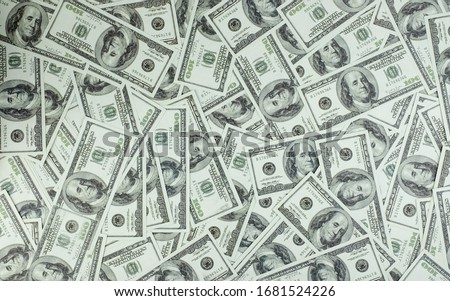 Group of money stack of 100 US dollars banknotes a lot of the background texture, top view Royalty-Free Stock Photo #1681524226