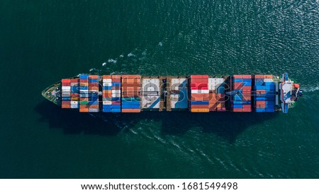 Aerial view container ship carrying container box global business cargo freight shipping commercial trade logistic and transportation oversea worldwide container vessel, Container cargo freight ship. #1681549498