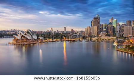 Sydney, Australia. Aerial cityscape image of Sydney, Australia during sunrise. Royalty-Free Stock Photo #1681556056