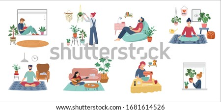 Quarantine, stay at home concept series - people sitting at their home, room or apartment, practicing yoga, enjoying meditation, relaxing on sofa, reading books, baking and listening to the music.  #1681614526