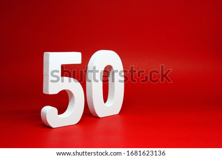 Fifty ( 50 ) white wooden  Isolated Red Background with Copy Space - New promotion 50% Percentage  Business finance Concept #1681623136