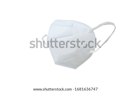 KN95 or N95 mask for protection pm 2.5 and corona virus (COVIT-19).Anti pollution mask.air face mask, N95 mask on white background with clipping path. #1681636747
