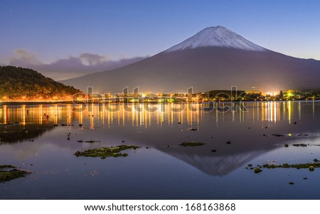 Mt. Fuji at dusk. #168163868