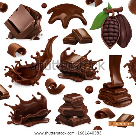 Chocolate set. Splashes, pieces and chocolate shavings, cocoa bean. 3d realistic vector objects. Food illustration Royalty-Free Stock Photo #1681640383