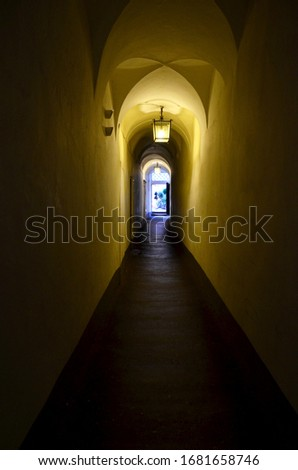 old tunnel passageway with light on the arched ceiling #1681658746