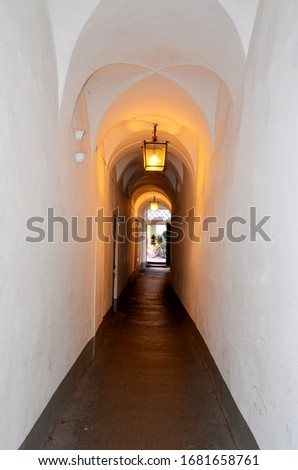 old tunnel passageway with light on the arched ceiling #1681658761