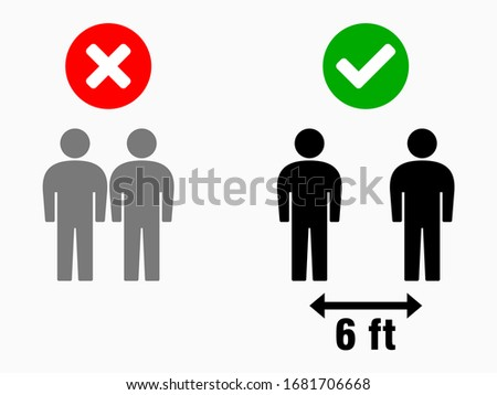 Social Distancing 6 feet Infographic. Vector Image. #1681706668