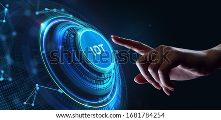 Internet of things - IOT concept. Businessman offer IOT products and solutions. Young businessman  select the abstract chip with text IoT on the virtual display.      #1681784254
