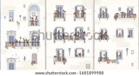 Illustration of tiny people at home in quarantine, making music on their balconies, coronavirus pandemic 2020 #1681899988