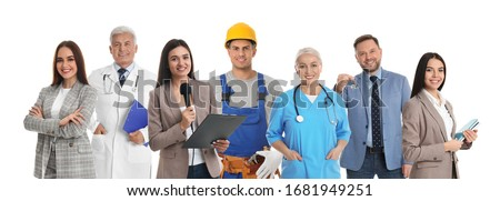 Collage with people of different professions on white background. Banner design  Royalty-Free Stock Photo #1681949251