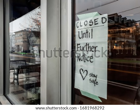 Business remaining closed during COVID-19 outbreak in Somerville, MA, USA. #1681968292