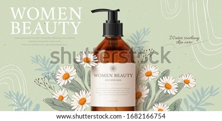 Banner ad for herbal cleansing product mock-up, with romantic hand-drawn chamomile and leaves on tea green background, 3d illustration #1682166754