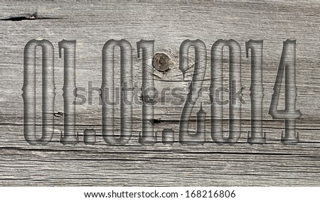 transparent embossed on wooden background 01.01.2014 #168216806