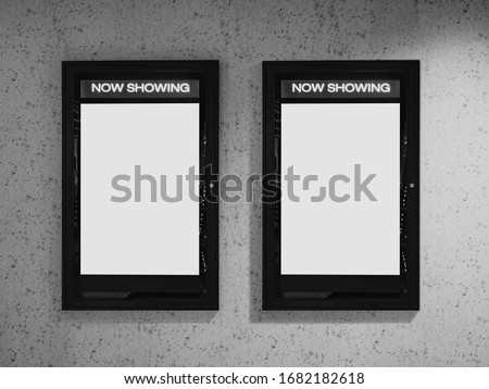 Mock up poster frame on wall Cinema Now showing movie Poster in Movie theatre #1682182618