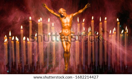 "Blurred Cross (Jesus Christ) and burning candles on the background The Sword of Orion ""Elements of this image furnished by NASA"