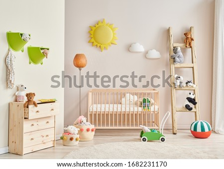 Decorative baby room wooden detail and baby interior. #1682231170