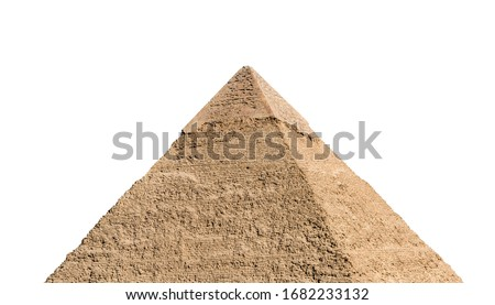 Khafre pyramid (part of Giza pyramid complex) isolated on white background. Greater Cairo, Egypt. #1682233132
