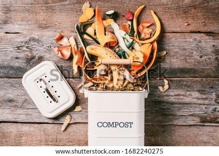 Recycle kitchen waste. Sustainable and zero waste living. Vegetable waste in recycling compost pot. Top view. Copy space. Peeled vegetables on chopping board, white compost bin on blue background. Royalty-Free Stock Photo #1682240275