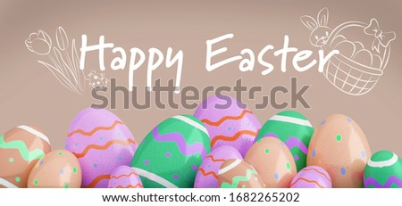 View of an Easter composition on a color background - 3d rendering #1682265202