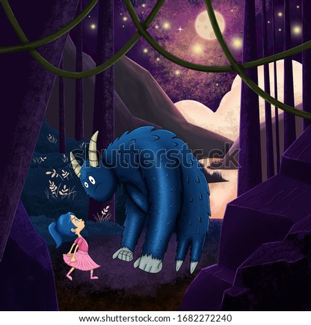 The children's book scene : The little brave girl standing strong in the wild forest with a monster in the dark.