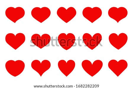 Heart red flat cartoon icon set. Romantic abstract different shape symbol on Valentines Day. Love banner template decorative element for wedding invitation card. Isolated on white vector illustration #1682282209