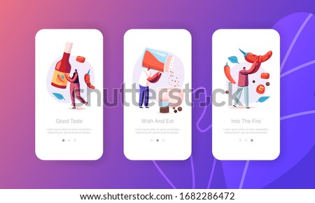 People Cooking Hot Spicy Food Mobile App Page Onboard Screen Template. Tiny Characters Cook Delicious Meal with Red Chili Pepper Ingredients, Mexican Spicy Dish. Concept. Cartoon Vector Illustration #1682286472