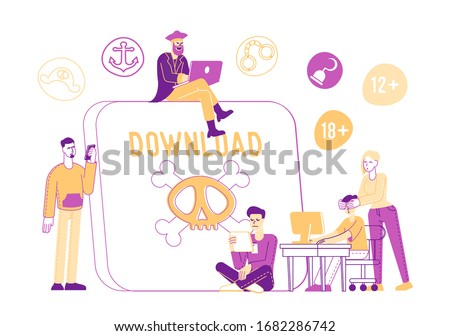 Pirate Content Free Download Concept. Characters around of Huge Tablet Pc with Jolly Roger Transfer and Sharing Files Using Torrent Servers Services, Online Media. Linear People Vector Illustration