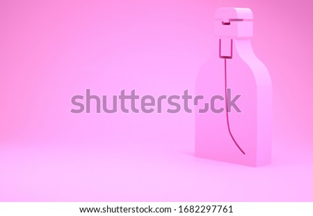 Pink Bottle of liquid antibacterial soap with dispenser icon isolated on pink background. Disinfection, hygiene, skin care. Minimalism concept. 3d illustration 3D render #1682297761