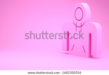 Pink Hoodie icon isolated on pink background. Hooded sweatshirt. Minimalism concept. 3d illustration 3D render #1682300356